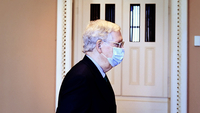 Senate Majority Leader Mitch McConnell, R-Ky., walks to his office at the Capitol. On Monday, the Senate reconvened for the first time in five weeks. MUST CREDIT: Washington Post photo by Matt McClain.