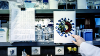 A visual rendering of the novel coronavirus is on display beside laboratory glassware at the Pasteur Institute laboratories in Lille, France, on March 9. (Bloomberg/Adrienne Surprenant)
