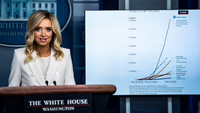 White House press secretary Kayleigh McEnany speaks during a briefing on Wednesday. The Trump adminisration declined to comment on the report that a new postmaster had been appointed. MUST CREDIT: Washington Post photo by Jabin Botsford