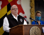 Maryland Gov. Larry Hogan holds a May 6, 2020, news conference on covid-19 updates in Annapolis. With him is schools superintendent Karen Salmon. MUST CREDIT: Washington Post photo by Bill O'Leary