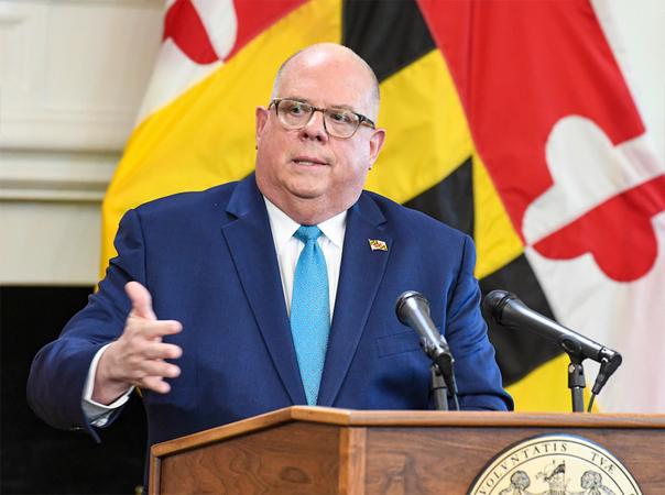 Maryland Gov. Larry Hogan (R) in Annapolis on Wednesday. (Jonathsn Newton/The Washington Post)