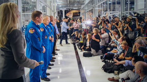 The first four astronauts assigned to SpaceX speak to the media in Hawthorne, California, in 2018. MUST CREDIT: Washington Post photo by Jonathan Newton