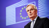 Michel Barnier, chief negotiator for the European Union (EU), speaks during a news conference following the first round of Brexit trade talks in Brussels, Belgium, on March 5, 2020. MUST CREDIT: Bloomberg photo by Geert Vanden Wijngaert.