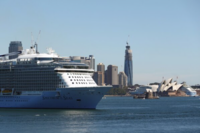 The Spectrum of the Seas cruise ship, operated by Royal Caribbean Cruises.'s cruise line brand Royal Caribbean International), sits in Sydney Harbor in Sydney, Australia, on March 18, 2020. MUST CREDIT: Bloomberg photo by Brendon Thorne.