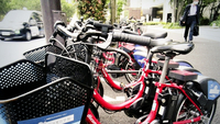Bicycles are parked at a bike-share port in Chiyoda Ward, Tokyo, on Friday.