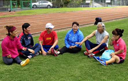 Members of Mongolia's Paralympic athletics team meet after training in Yaizu, Shizuoka Prefecture, Japan, on May 19, 2020. MUST CREDIT: Japan News-Yomiuri