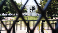 Administration officials stressed that President Trump was not involved in the decision to increase the fencing around the White House, where layers of barricades can be seen along H Street. MUST CREDIT: Washington Post photo by Matt McClain