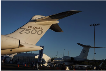 The Bombardier Inc. Global 7500 private jet at the National Business Aviation Association Annual Convention in Henderson, Neva., on Oct. 21, 2019. MUST CREDIT: Bloomberg photo by Bridget Bennett.