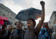 Protesters near Lafayette Square in Washington, D.C. (Evelyn Hockstein/for The Washington Post)