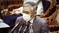 Haruhiko Kuroda, governor of the Bank of Japan, wears a protective mask as he speaks during a budget committee session at the lower house of parliament in Tokyo on April 28, 2020. MUST CREDIT: Bloomberg photo by Kiyoshi Ota.