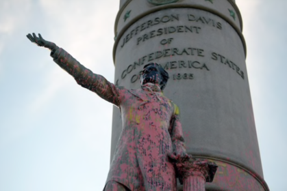 The statue of Jefferson Davis in Richmond was defaced before being toppled to the ground. MUST CREDIT: Washington Post photo by John McDonnell
