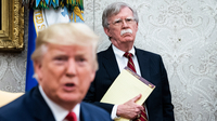John Bolton, the national security adviser at the time, listens to President Donald Trump during an Oval Office meeting in July 2019. MUST CREDIT: Washington Post photo by Jabin Botsford
