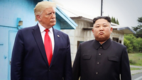 US President Donald Trump (left) and North Korean leader Kim Jong-un (Yonhap)