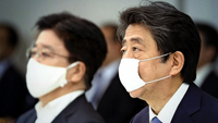 Prime Minister Shinzo Abe speaks during a meeting of the government's task force to respond to the new coronavirus epidemic at the Prime Minister's Office in Tokyo on Thursday. (The Yomiuri Shimbun)