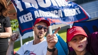 Zach Moushon and his son, Holden Moushon, 8, camp with fellow Donald Trump supporters outside the BOK Center in Tulsa, Oklahoma, on June 17, 2020, days before the start of the official rally. MUST CREDIT: Photo for The Washington Post by Amanda Voisard