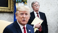 John R. Bolton, then national security adviser, listens as President Trump meets with Prime Minister of the Netherlands Mark Rutte in the Oval Office at the White House on July 18th, 2019 in Washington,. MUST CREDIT: Washington Post photo by Jabin Botsford.
