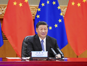 President Xi Jinping talks with European Council President Charles Michel and European Commission President Ursula von der Leyen in a videoconference in Beijing on June 22, 2020. [Photo/Xinhua]