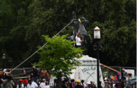 Protesters attempt to topple statue of Andrew Jackson near White House in Washington on Monday. MUST CREDIT: Photo for The Washington Post by Astrid Riecken