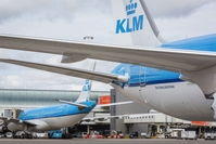 Members of the Line Maintenance Department perform essential tests on KLM passenger aircraft operated by Air France-KLM at Schiphol Airport in Amsterdam, Netherlands, on May 13, 2020. MUST CREDIT: Bloomberg photo by Natascha Libbert.