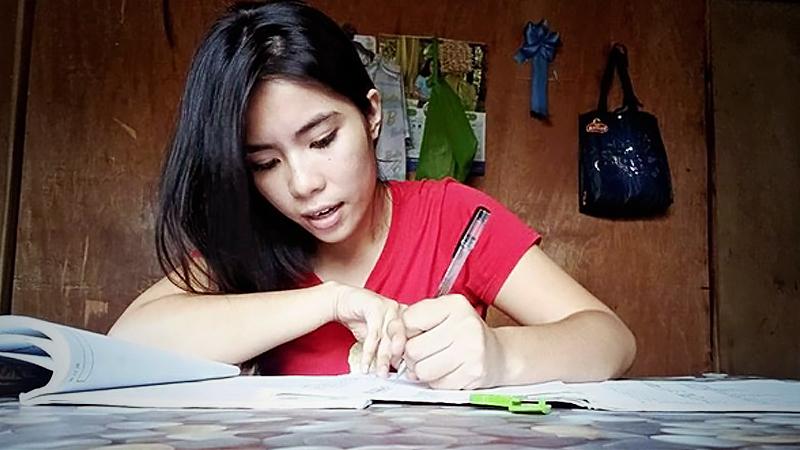Venus Lanuza studies Japanese at her parents' house in Davao, the Philippines. (Courtesy of Venus Lanuza)