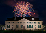 The fireworks show June 27 at Mount Vernon, George Washington's home near Washington. Attendance was restricted to 600, from the normal 2,700, and fireworks were launched from a barge anchored in the Potomac River. MUST CREDIT: Photo for The Washington Post by Kevin Ambrose