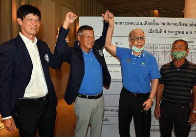 Methee Sudasana na Ayudhaya, second from left, wins the PGA Thailand election.