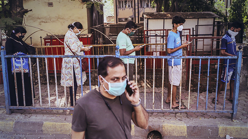 File photo: People in India wear masks.