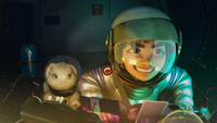 A scene features that Fei Fei and her rabbit ride on a rocket heading for the Moon. [Photo provided to China Daily]