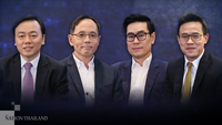From left, economists Yunyong Thaicharoen, Charl Kengchon, Burin Adulwattana and Somprawin Manprasert share their views on the economic outlook post-Covid crisis at an exclusive roundtable hosted by Nation Group and Nation TV on July 2.