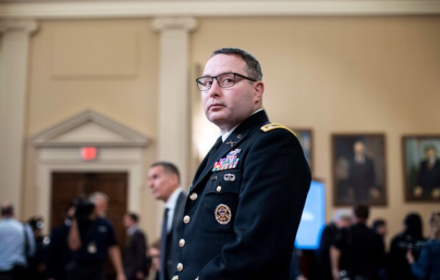 Lt. Col. Alexander Vindman appeared before the House Intelligence Committee during the impeachment inquiry on Nov. 19, 2019. MUST CREDIT: Washington Post photo by Melina Mara.