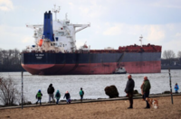 Bulk carrier CIC Oslo, operated by Golden Union Shipping, sails into the port of Hamburg in Hamburg, Germany, on March 3, 2020. MUST CREDIT: Bloomberg photo by Krisztian Bocsi.
