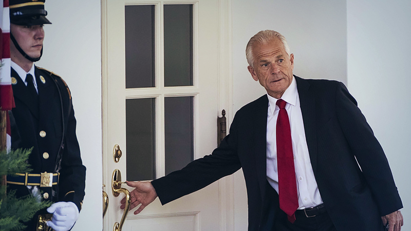 White House trade adviser Peter Navarro outside the West Wing at the White House on July 8, 2020, in Washington, D.C. MUST CREDIT: Washington Post photo by Jabin Botsford