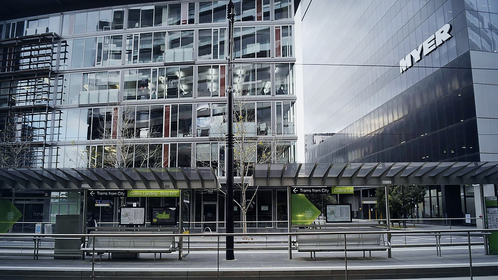 A tram stop stands deserted in the Docklands area of Melbourne, Australia, on July 9, 2020. MUST CREDIT: Bloomberg photo by Carla Gottgens.