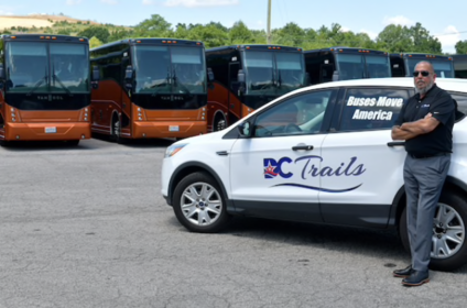 William Torres, president of DC Trails, on his lot Wednesday in Lorton, Va., where many of his 70 motor coaches have been parked. MUST CREDIT: Washington Post photo by Marvin Joseph