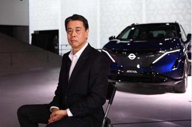 Makoto Uchida, CEO of Nissan, unveils the company's Ariya electric crossover SUV at Nissan Pavilion in Yokohama, Japan, on July 15, 2020. MUST CREDIT: Bloomberg photo by Noriko Hayashi.