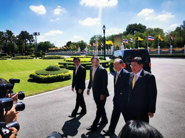 From left: Kobsak Pootrakool, Uttama Savanayana, Sontirat Sontijirawong and Suvit Maesincee at Government House on Thursday.