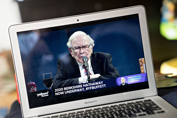 Warren Buffett, chairman and chief executive officer of Berkshire Hathaway Inc., speaks during the virtual Berkshire Hathaway annual shareholders meeting seen on a laptop computer in Arlington, Va., on May 2, 2020. MUST CREDIT: Bloomberg photo by Andrew Harrer
