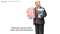 Photo by: Clay Bennett, Chattanooga Times Free Press — Clay Bennett of the Chattanooga Times Free Press depicts the president flouting Dr. Fauci's advice on masks. MUST CREDIT: Clay Bennett, Chattanooga Times Free Press, dist. by WPWG.