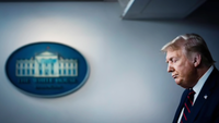 President Donald Trump speaks during a coronavirus briefing at the White House on Tuesday, July 21, 2020.  CREDIT: Washington Post photo by Jabin Botsford