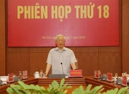 Party General Secretary and State President Nguyễn Phú Trọng speaks at the 18th session of the Central Steering Committee for Anti-Corruption in Hà Nội on July 25. — VNA/VNS Photo Trí Dũng