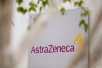A sign featuring the AstraZeneca at the company's DaVinci building at the Melbourn Science Park in Cambridge, England, on June 8, 2020. MUST CREDIT: Bloomberg photo by Jason Alden.