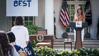First lady Melania Trump speaks about her Be Best program during an event in the Rose Garden of the White House in May 2018. MUST CREDIT: Washington Post photo by Jabin Botsford