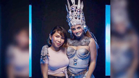 Cambodian makeup artist Apple (left) with Charli Hueston as the 'Apsara Robot'. Courtesy of Dillon Morningstar