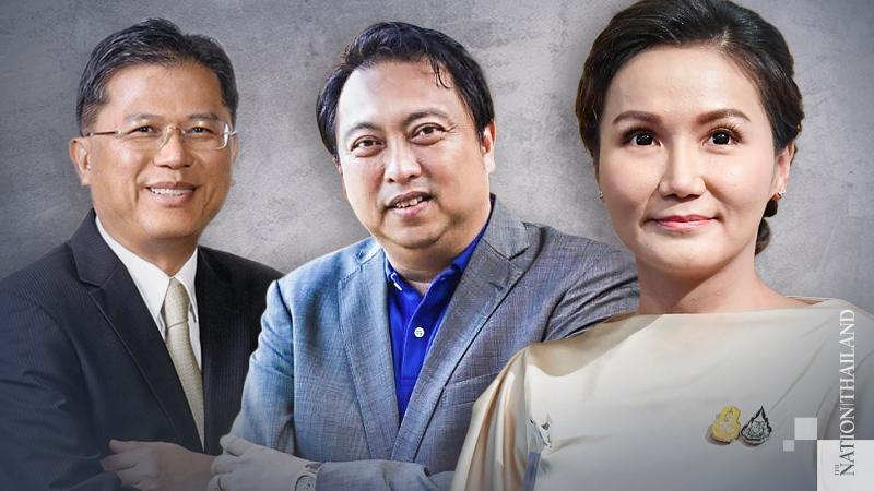 :From left: Finance Minister Predee Daochai, Labour Minister Suchart Chomklin and Deputy Labour Minister Narumon Pinyosinwat.