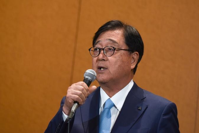 Osamu Masuko, who stepped down Friday as chairman of Mitsubishi Motors Corp., speaks during a news conference in Yokohama, Japan, on Jan. 30, 2020. MUST CREDIT: Bloomberg photo by Noriko Hayashi. Location: Yokohama, Japan