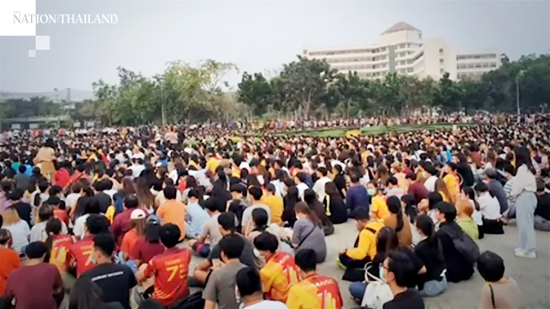 Thousands of pro-democracy demonstrators attend an anti-government protest at Thammasat University's Rangsit campus on August 10.