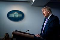 President Trump speaks during a coronavirus briefing on Tuesday. (Jabin Botsford/The Wasington Post)
