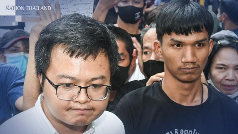 Arnon Nampa, left, and Phanuphong Chatnok