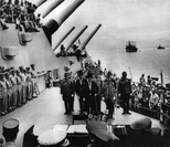 File photo taken on Sept 2, 1945 shows Japan's surrender ceremony aboard the United States Navy battleship USS Missouri anchored in Tokyo Bay. (XINHUA)