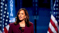 Sen. Kamala Harris became the first Black woman and Asian American to be nominated for vice president by a major party Wednesday in Wilmington, Del. She laid out